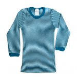 Hocosa Wool Silk Long Underwear in Blue Stripe