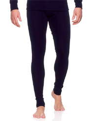 Ruskovilla Men's Black Silk Wool Long Johns